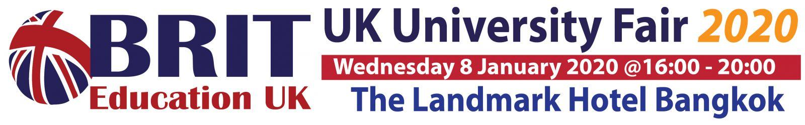 UK University Fair งานศึกษาต่ออังกฤษใหญ่ที่สุด Wed 8 January 2020: 16.00-20.00 – BRIT